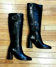 GEOX Ladies Black Leather Knee High Boots Side Buckle Zipper 39 UK 6 NWB rrp£155