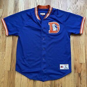 Men's Mitchell & Ness Denver Broncos Mesh Button Up Blue Baseball Jersey Sz L
