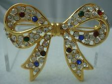 """VINTAGE 1980's MULTI COLOR RHINESTONE 2 1/2"""" GOLD TONE BOW PIN BROOCH (H-1)"""