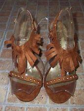 Faux Suede Sandals Textured Heels for Women