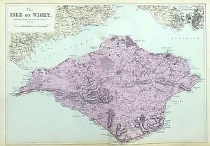 ISLE OF WIGHT, 1883  - Original Antique Map, Bacon.