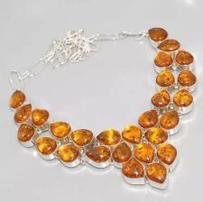 BEAUTIFUL Yellow Amber 925 Silver Overlay CLUSTER Bib Statement Necklace 18""
