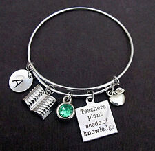 Personalized Teacher Appreciation Gift,Teacher Bangle Bracelet with Apple Charm