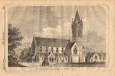 St. David's Church, Neath, Wales, Vintage 1868 English Antique Art Print