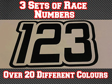 """3 conjuntos de carrera números 4"""" 100 mm Custom Motocross Pegatinas de vinilo Calcomanías MX Bici N30"""