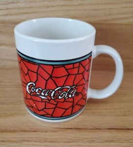 1996 Coca-Cola Stained Glass Coffee Mug. Red, Black, White & Green-Preowned