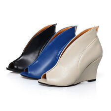 Ladies Ankle Boots Wedge High Heels Pumps Sandals Peep Toes Shoes AU Size S302