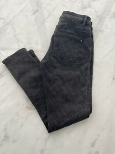 Auth CHANEL Quilted Stitched Grey Denim Jeans Size 27