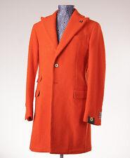 NWT $1275 L'8 (L.B.M.1911) Tangerine Casentino Wool Overcoat Eu50 (fits 38) Coat