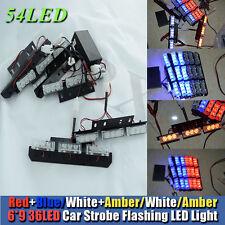 54 LED Red/Blue Car Police Strobe Flash Light Dash Emergency 3 Flashing Light