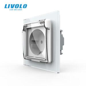 LIVOLO EU Standard Wall Power Socket 16A with Waterproof Cover Glass Panel White