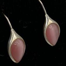 Vtg Sterling Silver 925 Earrings Su Thailand Pink Cats Eye Teardrop Pierced