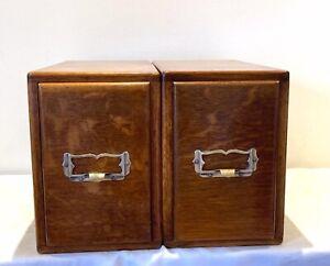 Antique Solid Oak Kenrick & Jefferson 2 Single Drawers Card Index Filing Cabinet