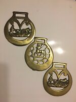 Lot of 3 Vintage Brass Plated Medallions Horse Bridle  Bridal Harness Tack Asst
