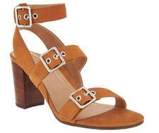 NEW Vionic Orthotic Block-Heel Leather Sandals Carmel Saddle 9.5 $139.95