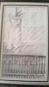 P. Buckley Moss original Pencil ~ Soaking up the Sun ~ Cat ~ Collector Society