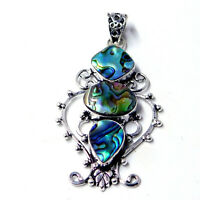 Raw Abalone Shell 925 Sterling Silver Plated Handmade Jewelry Pendant 10 Gm-AF06