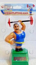 Solar Dancer Weightlifting Man In Blue  Bobblehead Toys New Free Shipping NWT
