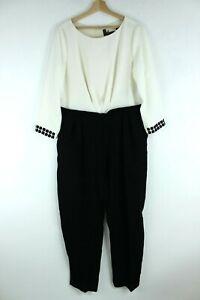 MaxMara Pianoforte NEW Black/Cream White 3/4 Sleeve Women Jumpsuit SizeUK 16 XL