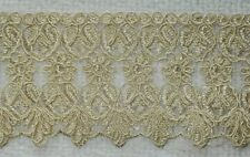 BEIGE EMBROIDERED TRIM ON NET, LACE, SOLD PER METRE - 9CM'S WIDE APPROX.