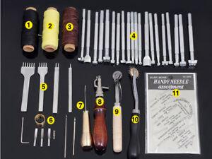 48pcs/set leather craft punch tool kit hand-stitched engraving stamp Awl saddle