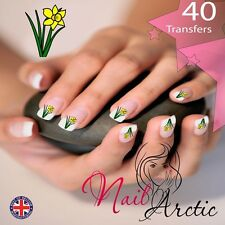 40 x Nail Art Water Transfers Stickers Wraps Decals Daffodil Wales Welsh