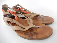 Merrell Lotta Tan Leather Floral Sandals Shoes Womens Size 8