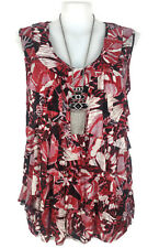 NWT AUTOGRAPH Top- Ruffle Layer Butterfly Wing Stretch Tank Black Red White - 24
