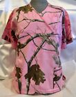 New, Realtree AP Pink Camo Scrub Top Medical Vet uniform crossover neck line
