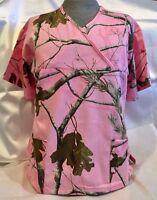 New, Realtree AP Pink Camo Scrub Top Medical Vet uniform crossover neck line