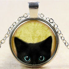 Vintage Cute Black Cat Cabochon Glass Pendant Charm Chain Necklace Jewelry