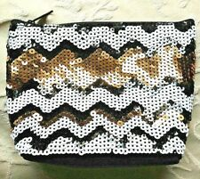 Next Sequin Make Up Case Toiletry Bag Black/Gold/White *VGC*