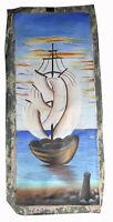 "32"" Oil Haiti Painting on Canvas Folk Art Tropical Landscape Sailship Oceanscape"