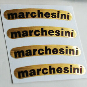 Marchesini Brushed Gold Foil Set (4) Sticker Decal Wheel 70mm x 10mm motorcycle