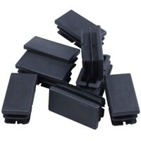 8 Pcs Black Plastic Rectangular Blanking End Caps Inserts 20mm x 40mm X3Z8