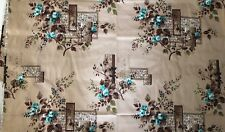 Vintage MOANA Barkcloth Fabric Material Floral Brown Blue Bark Cloth 3+ Yards