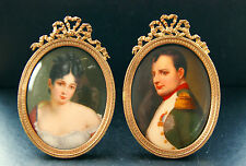 Napoleon Bonaparte & Madame Recamier Antike Miniatur Wiener Art Porzellan Bilder