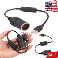 Car Cigarette Lighter Socket Splitter USB Power Adapter Charger Male to Female