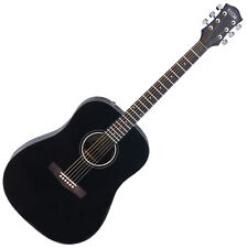 Classic Acoustic Folk Guitar Western Dreadnought 6 Steel Strings 20 Frets Black