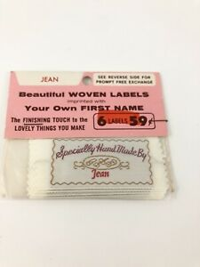 Vtg Personalized Sew in Woven York Labels Specially Hand Made By Jean Set of 6