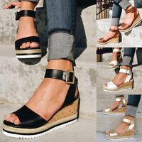 Womens Ladies Ankle Strap Peep Toe Wedge Sandals High Heels Platform Shoes Size