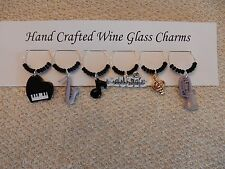 """""""MUSIC'' SET OF 6  HAND CRAFTED wine glass drink markers"""
