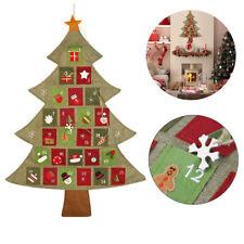 New Christmas Hanging Advent Calendar Countdown Fabric Felt Xmas Tree Wall Decor