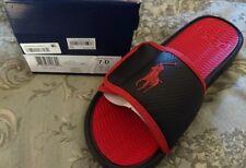 MACY'S POLO Ralph Lauren ROMSEY SLIDES SANDALS FLIP FLOPS SIZE 7D Red & Black