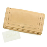 Chloe Wallet Purse Long Wallet Beige Gold Woman Authentic Used T054