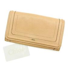 Chloe Wallet Purse Long Wallet Beige Gold Woman Authentic Used T054