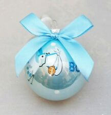 """Baby Ornament Stork Shower Gift Boy Blue Ball 1st Christmas Glass 3"""""""