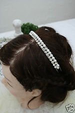 Haarreif mit Diamanten & Perlen silber, Kommunion Blumenkind, Postenware B-Ware