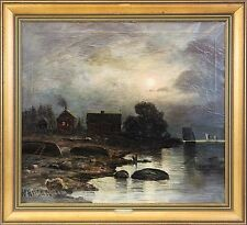 WALFRID NELSON (1849–1930) »VOLLMONDNACHT« MOONLIGHT LANDSCAPE 71 x 78 cm