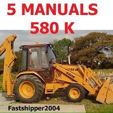 5 Service Repair Manuals Case 580 Super K Tractor TLB Parts & Operators 580SK CD